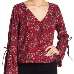 Band of Gypsies size small boho floral maroon top